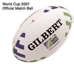 The Gilbert World Cup ball has been well received by nearly all teams at RWC 2007 OFFICIAL MATCH BALL