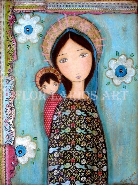 Blue Veil Madonna - Mother and Son - Folk Art  Print from Painting (6 x 8  inches PRINT) by FLOR LARIOS via Etsy