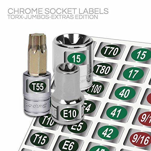 "Steellabels - Master Torx Labeling Set - ""Economy Edition"" - 60 piece chrome foil label sheet for Torx, and E-TORX drive sockets, fits Craftsman, Snap On, Mac & Stanley socket drive torx tools $5.00 Each of the 3 Sheets contains 60 individual Coated and Dye Cut Socket Labels Color Coded Medical Grade tight radius foil material. Permanent Adhesive - Oil and Gas resistant"