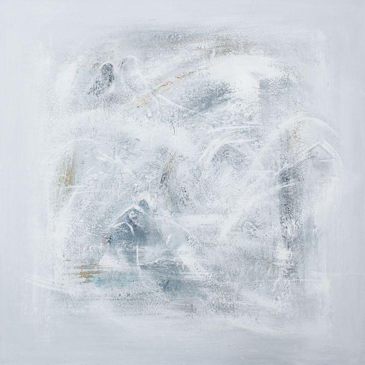 """Talking to the birds"" 100 x 100 cm acrylic on canvas. Copyright: Monica Hansen."