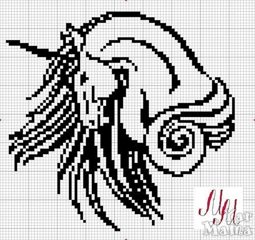 Филейное вязание. Единорог.