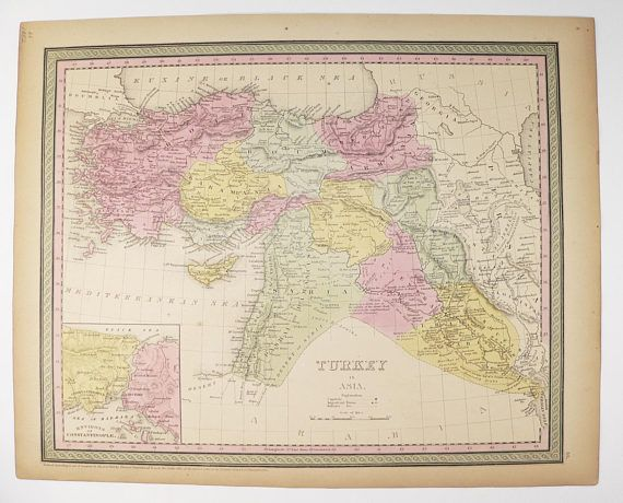 1852 Middle East Map 1852 Mitchell Map Turkey in Asia Map, Middle East Decor, Palestine Map Iraq, Syria Map Cyprus, Historical Map Art available from OldmapsandPrints.Etsy.com #TurkeyInAsia #MiddleEastMap #1852MitchellMapofTurkeyInAsia #RealAntiqueMap