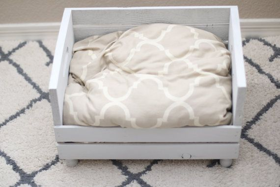Small Crate Dog Bed Shabby Chic Dog Bed Cat Bed by HoundandHouse