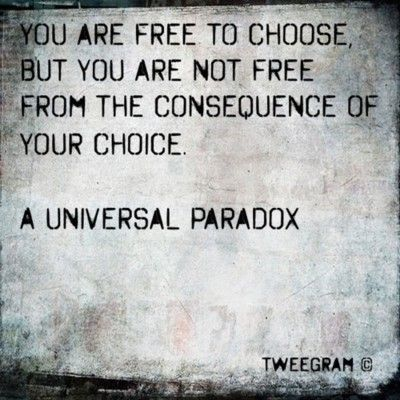 You are free to choose but you are not free from the consequence of your choice. A Universal paradox.