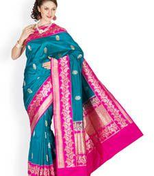 Buy Moderate Turquoise Green  and  (raani) hand_woven silk saree with blouse banarasi-silk-saree online