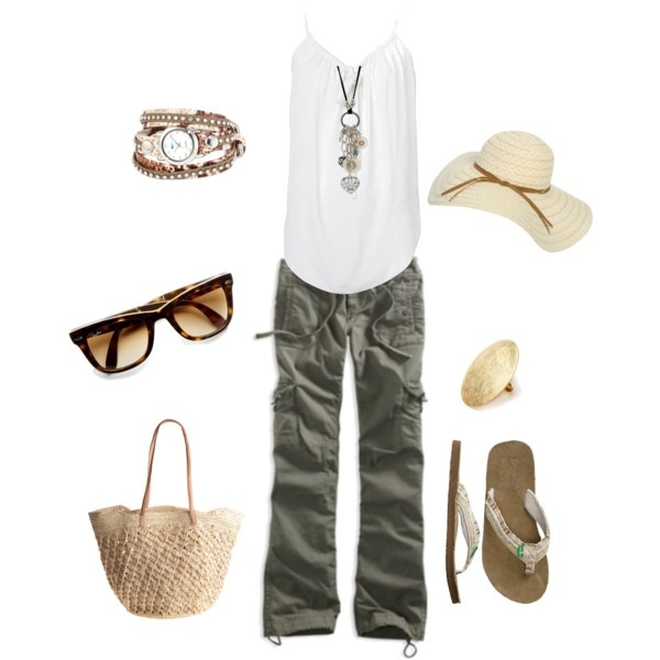 Outfit: Summer Casual, Casual Summer, Summer Looks, Cargo Pants, Summer Outfits, Green Pants, Beaches Day Outfits, Beachi Outfits, Comfy Outfits