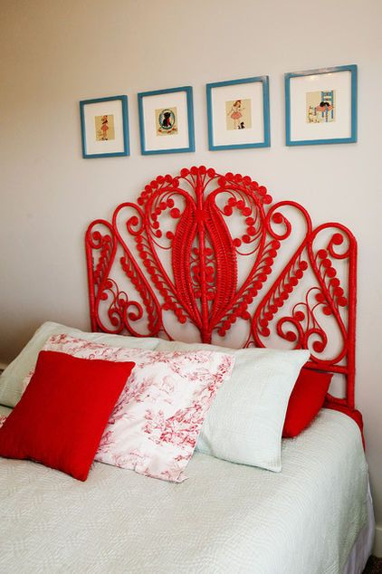 Wicker headboards — common to Victorian homes — are unbelievably beautiful as modern painted pieces.