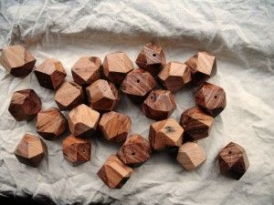 Recycled Hardwood geometric beads for my chunky necklaces.