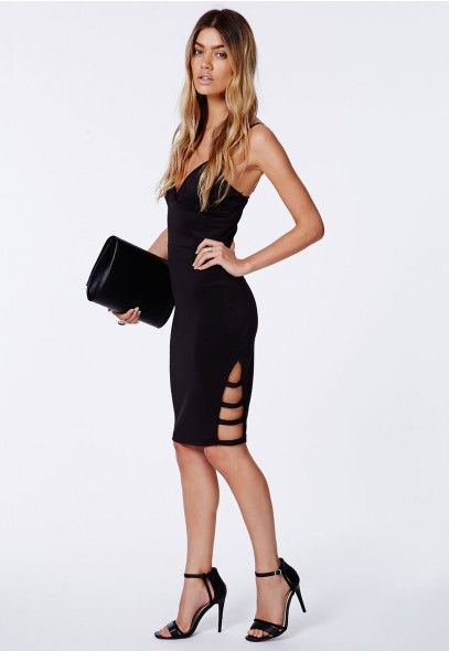 Turn up the heat this summer in this gorgeously #sexy #LBD. The delicate #slashedhem detail on the thigh and beautiful #bodycon fit make this a #dress you can totally take out for cocktails. Wear with a pair of #Missguided black strappy heels and a colour pop clutch for maximum impact.