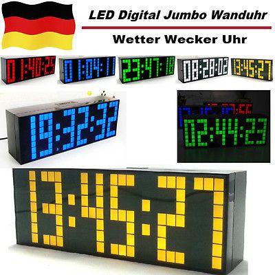 LED-Digital-Wanduhr-Jumbo-Kalender-Wetter-Wecker-Uhr-Schreibtisch-Alarm-Clock