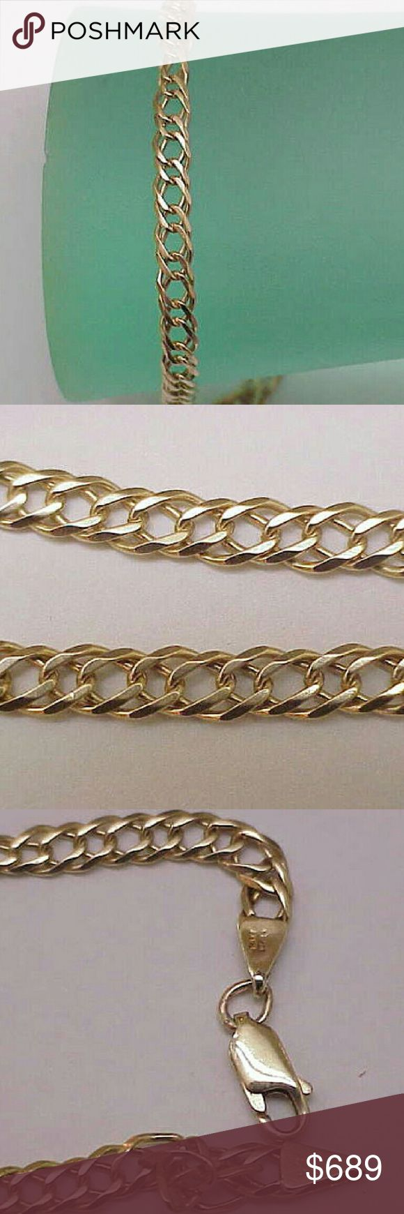 Estate 14k gold Cuban double link bracelet Italy Unique estate vintage 14k yellow gold Cuban double link bracelet.  7 1/2 inches long. 5mm wide.  Weight 6.8gr. Made in Italy. Jewelry Bracelets