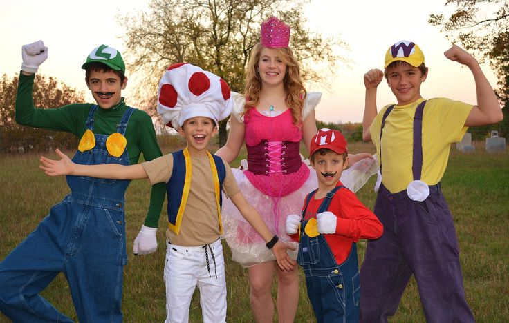 Luigi, Toad, Princess Peach, Mario, Wario costumes. Easy to add accessories in order to create these costumes!