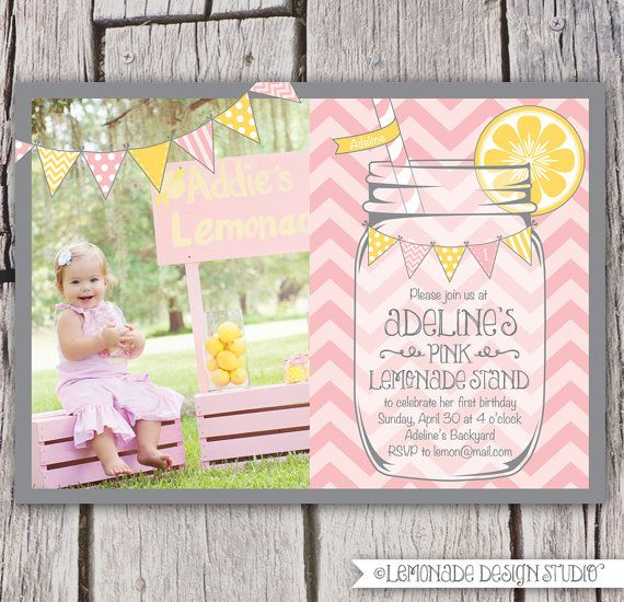 Pink Lemonade Invitation Printable - Chevrons - Mason Jar - Bunting - Lemonade Stand Birthday Party Invite - Bridal Shower -. $16.00, via Etsy.