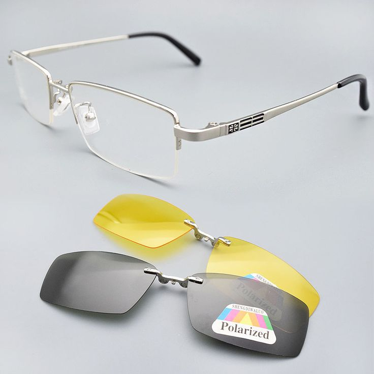 ==> [Free Shipping] Buy Best Glasses Frame  2PCS Magnetic Clip-on Sunglasses UV400 Yellow Polarized Night Vision Sunglasses Silver Glasses Frame For Men Online with LOWEST Price   32265861277