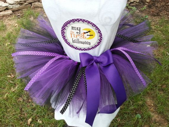 Baby's first Halloween Costume- Includes infant sized tutu in Purple and black, felt witches hat headband AND 'My First Halloween' decal