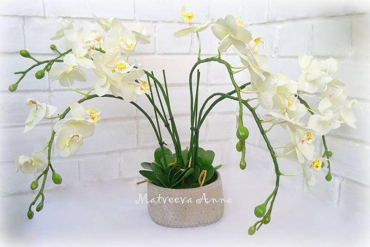Орхидея из фоамирана. Фом иранский. Высота с горшком 53 см.0 #фоамиран#фомфлористика#цветыручнойработы#цветыизфоамирана#цветывинтерьере#foamiran#foamiranflowers#декор#интерьер