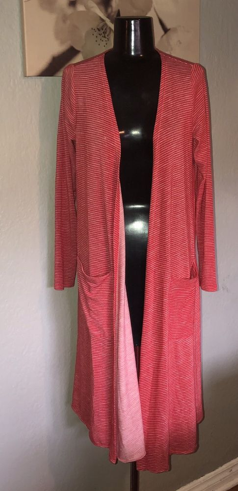 433a89f9639 Lularoe Red White Stripe S Small Sarah Long Cardigan Duster Pockets ...