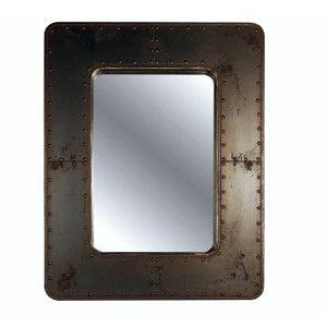 industrial rivet mirror | aged metal frame mirror | aged metal panels mirror | riveted steel frame mirror | factory look mirror