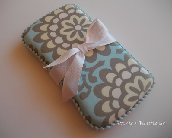 Boutique Pale Blue and Cream Wallflower baby wipes case. Perfect gift for a precious Baby Boy.