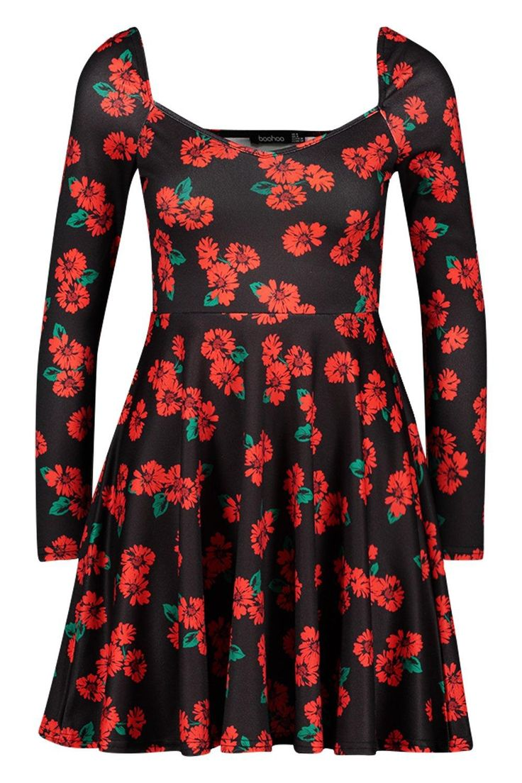 Petite langärmeliges Skater-Kleid mit Blumen-Print | Boohoo