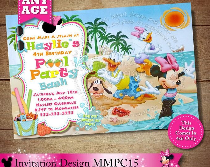 97 best Minnie Mouse Clubhouse Invitations Party Printables – Creative Pool Party Invitations