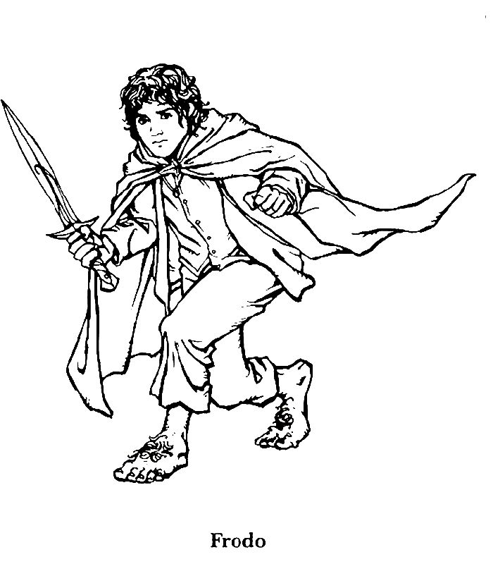 lord of the rings coloring page frodo