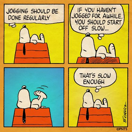Snoopy goes for a morning jog.