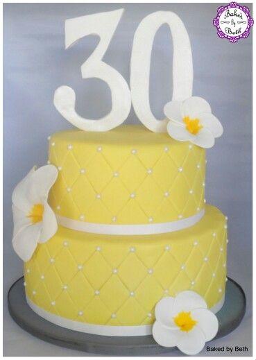 Yellow quilted frangipani 30th birthday cake