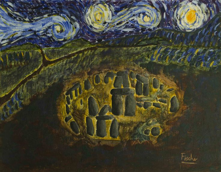 'Night At Stonehenge', mixed media on canvas, 45x35cm, 2012, #art #painting #artist #mixedmedia #stonehenge #colorful #canvas #fischerart