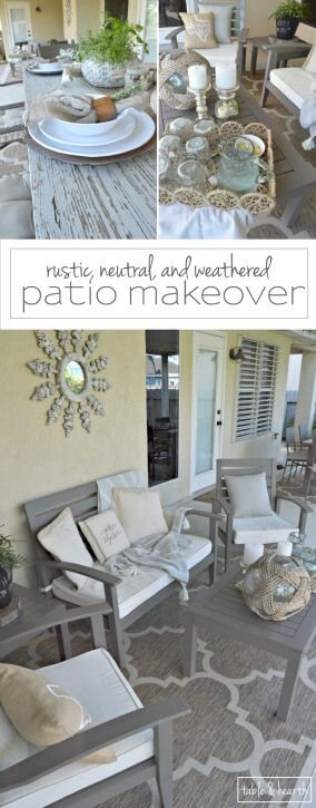 AMAZING! Table & Hearth completely transformed this boring, bare, and beat up patio space into a relaxed, neutral, and weathered coastal-meets-farmhouse space that's perfect for entertianing! Great DIYs and curated decor make it such a beautiful space. www.tableandhearth.com
