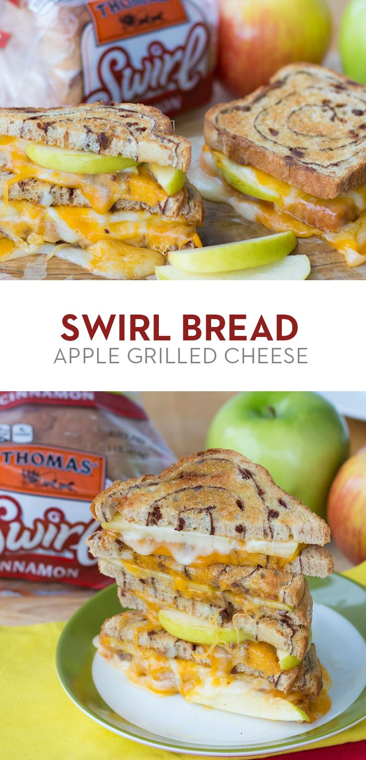 Swirl Bread Apple Grilled Cheese: Melt Cheddar cheese, American cheese ...