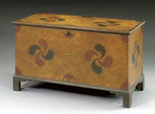 Grain painted blanket chest -- love the design on this one.