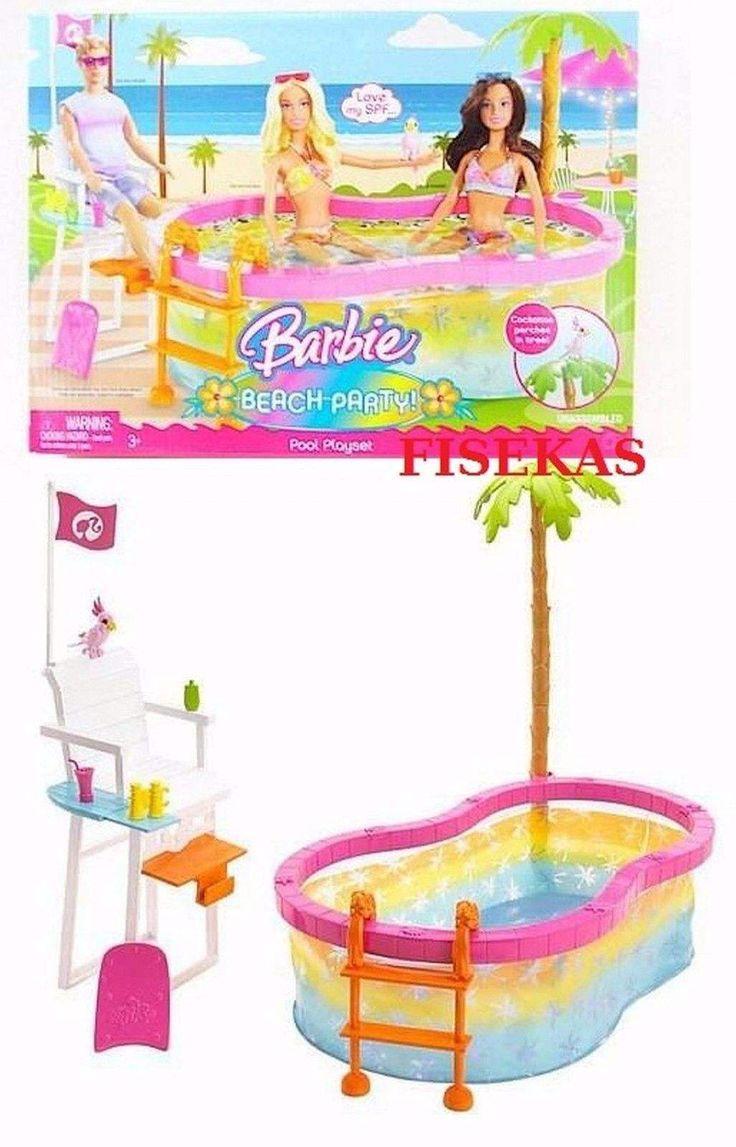 2008 Barbie Beach Party Pool Playset Bird Lifeguard Chair Palm Tree N4949 NEW