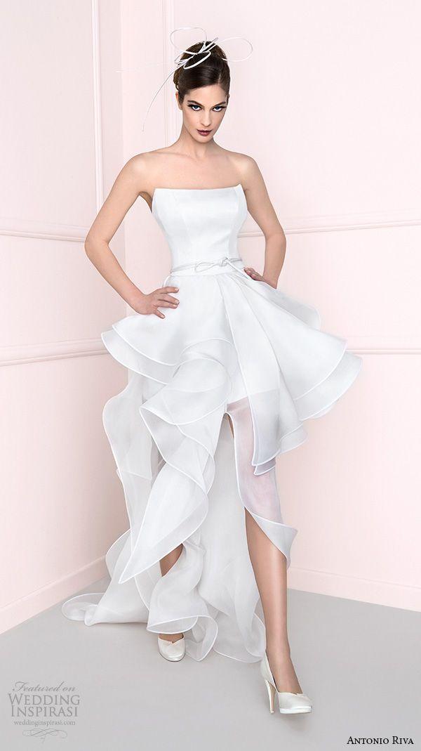 antonio riva 2016 bridal dresses straight across neckline mini skirt peplum wedding dress with train bprov