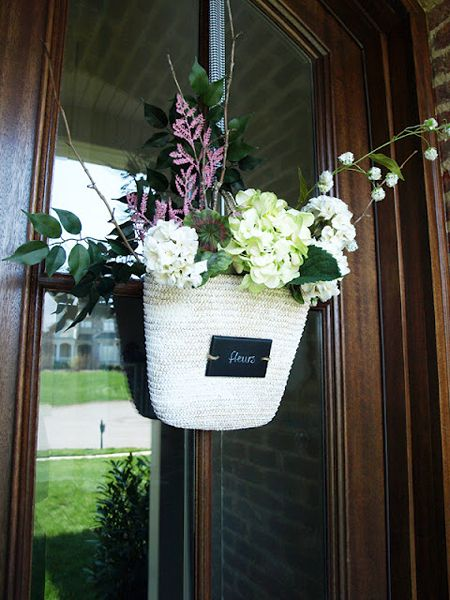 wreath alternative front door decor--straw tote flowers arrangement from less than perfect life of bliss