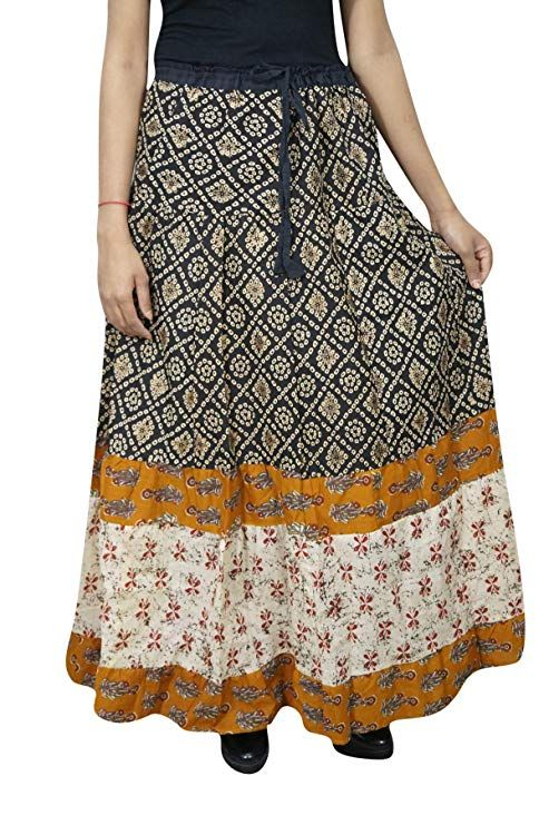 7423dad329 Mogul Interior Women's Cotton Skirt Printed Black Boho Flared Tiered Maxi  Skirts S/M: Amazon.ca: Clothing & Accessories