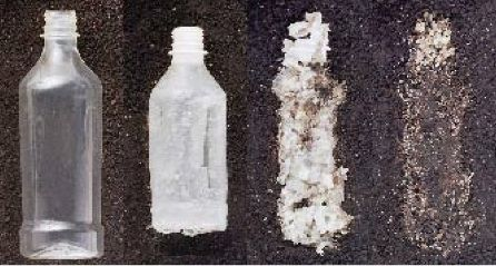 Compostable plastics derived from corn break down in industrial composting conditions (high heat + high moisture + high volume) in as little as 4 weeks.