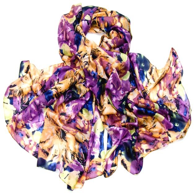 Etole en soie violet imprimé fleurs alicia - Etole soie - Mes Echarpes