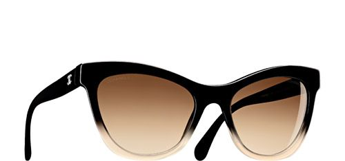 Chanel Sunglasses Black & blue Cat eye Signature   Online Boutique This is something rhie would wear cuz it's not too cray