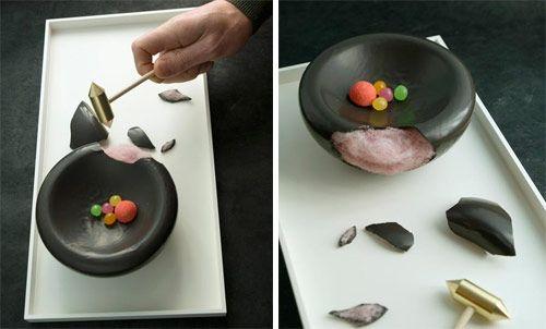 Stephane bureaux est un designer qui s'intéresse aussi au Design culinaire :   sculpture des aliments, compositions, réactions.