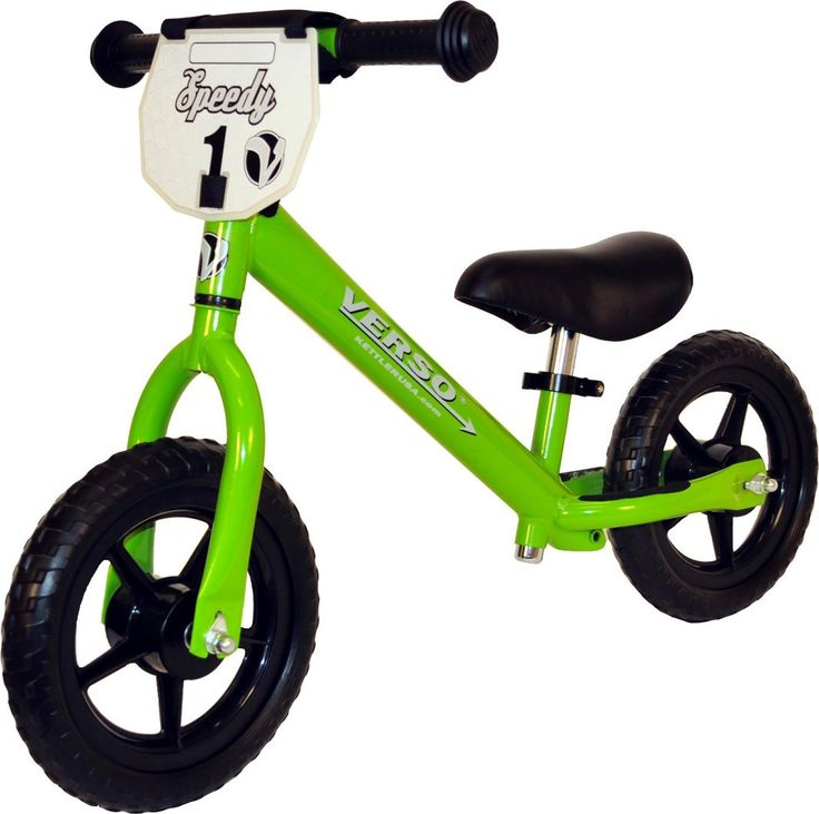 """Verso by Kettler Speedy Balance Bike, 10-Inch, Green. Teaches Balance and coordination. Limited turn radius to help prevent tipping. Ball bearing mounted 10"""" EVA tires. Height adjustable ergonomic seat, developed by child physiotherapist. Durable steel tube frame with scratch resistant coating. Patented limited turning radius to help prevent spills. 10"""" EVA maintenance free tires. Height adjustable quick release padded saddle and handlebars. High carbon steel frame. Ages: 2-5 yrs.; Weight..."""