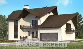 300-002-П Проект двухэтажного дома с мансардой, гараж, современный дом из арболита