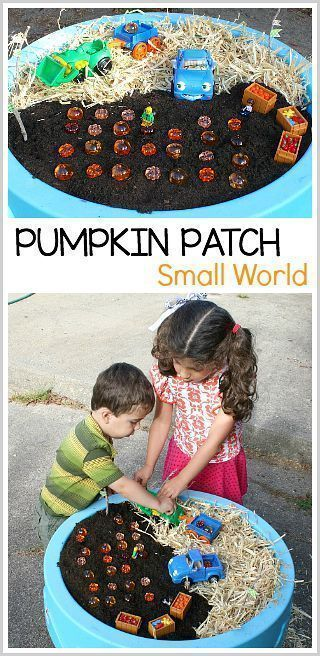 Pumpkin Patch Small World for Kids: Fun Halloween and fall sensory play for toddlers and preschoolers. A fun way to encourage pretend play! ~ BuggyandBuddy.com