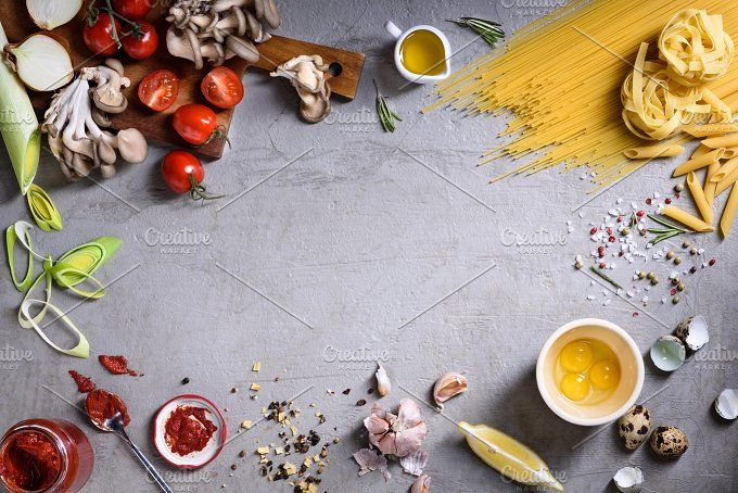 Pasta asortment with veggies by Iuliia Leonova on @creativemarket
