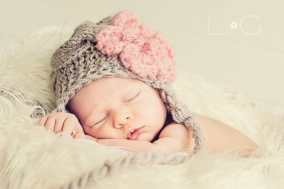 Knit Baby Hat Newborn Baby Girl Hat Infant Baby Girl by effybags