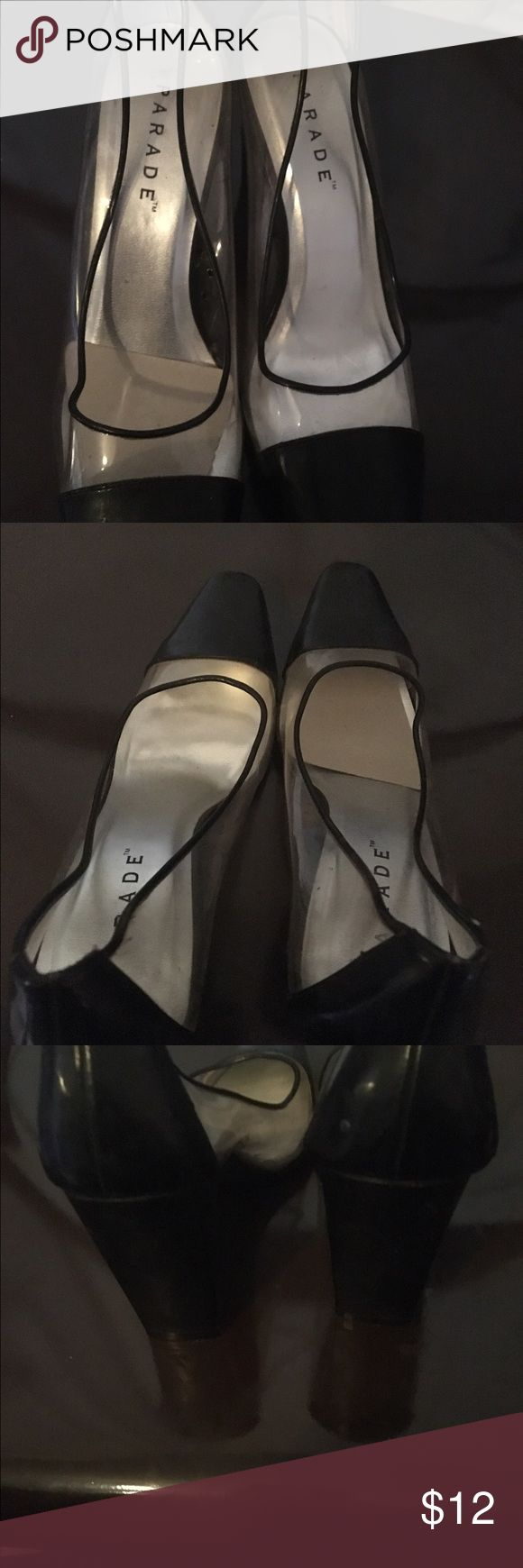 Women's Parade black leather &clear pumps Size 7 New high heel black leather and clear high heel pumps have never been worn. Shoes Heels
