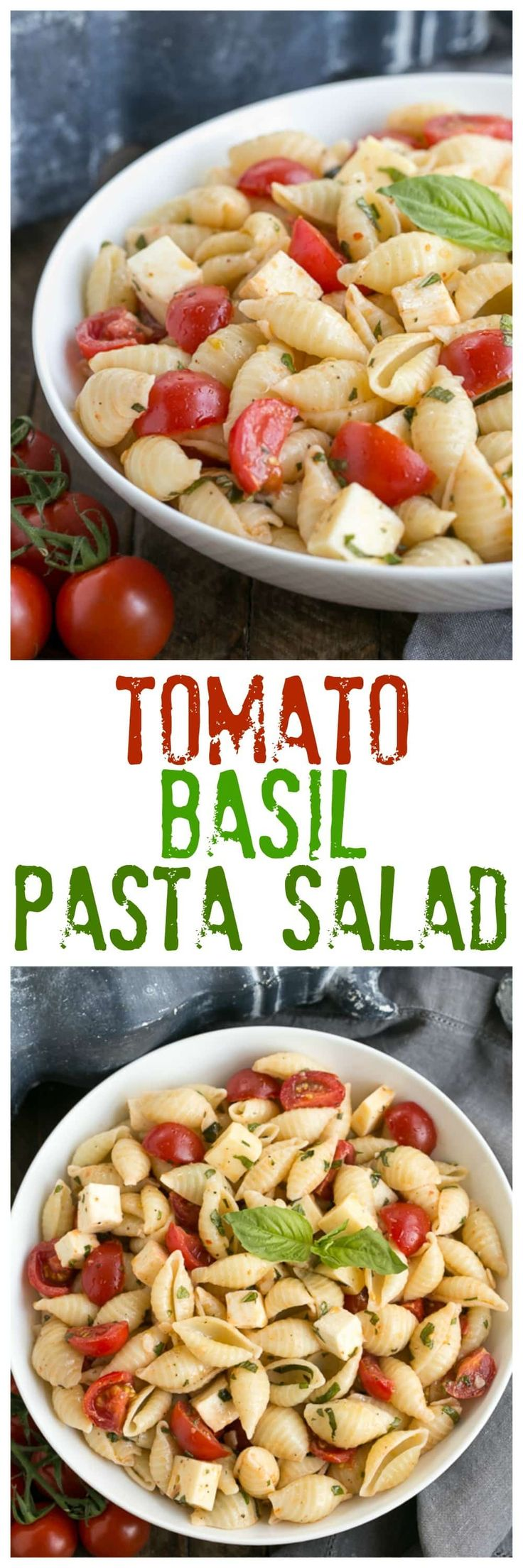Tomato Basil Pasta Salad with Mozzarella & Fontina | Perfect for pitch-ins,, picnics and summer entertaining! @lizzydo
