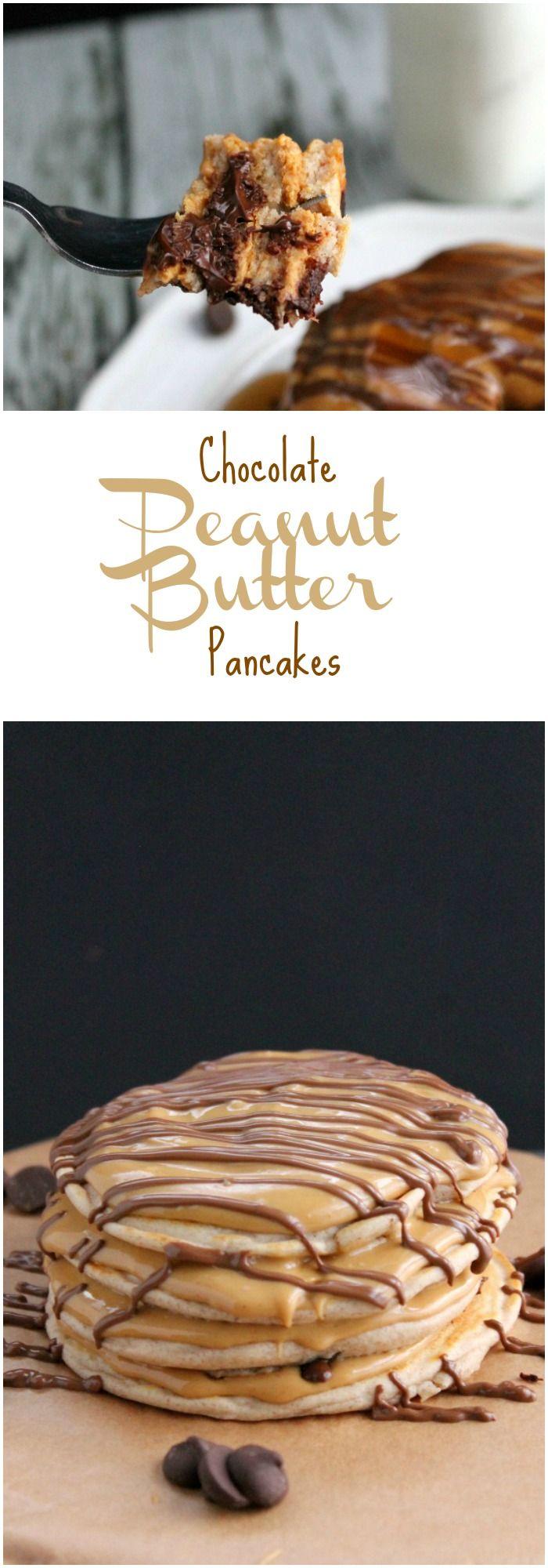 Peanut Butter Chocolate Pancakes - theBitterSideofSweet