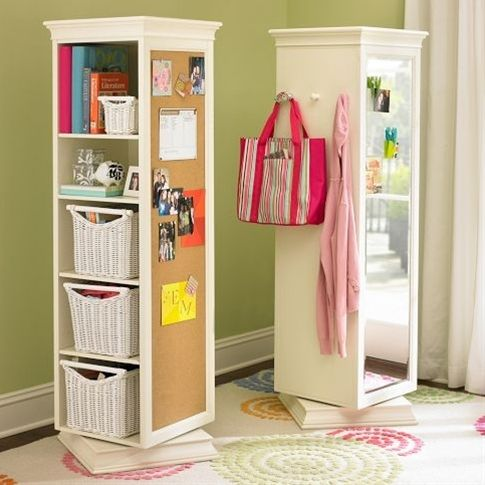 Can totally make this using an Ikea book shelf, an Ikea lazy susan, a cork board and a mirror! Great for kids rooms!