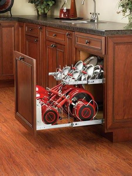 KITCHEN ORGANIZATION - Two-Tier Cookware Organizer - Wish I'd seen/known of this before my kitch remodel... bye-bye-lazy susan... :)